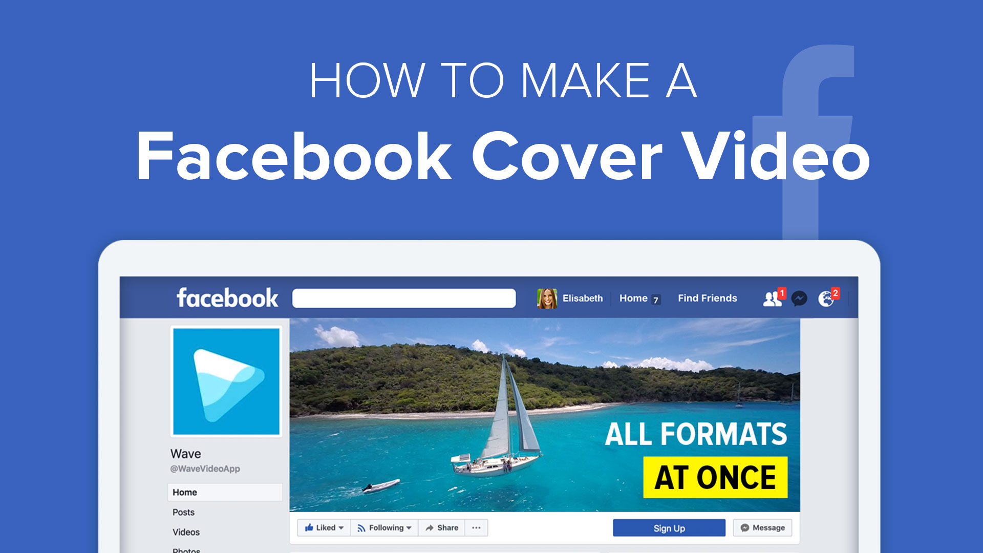 Make a Facebook video cover in Wave.video, a video maker
