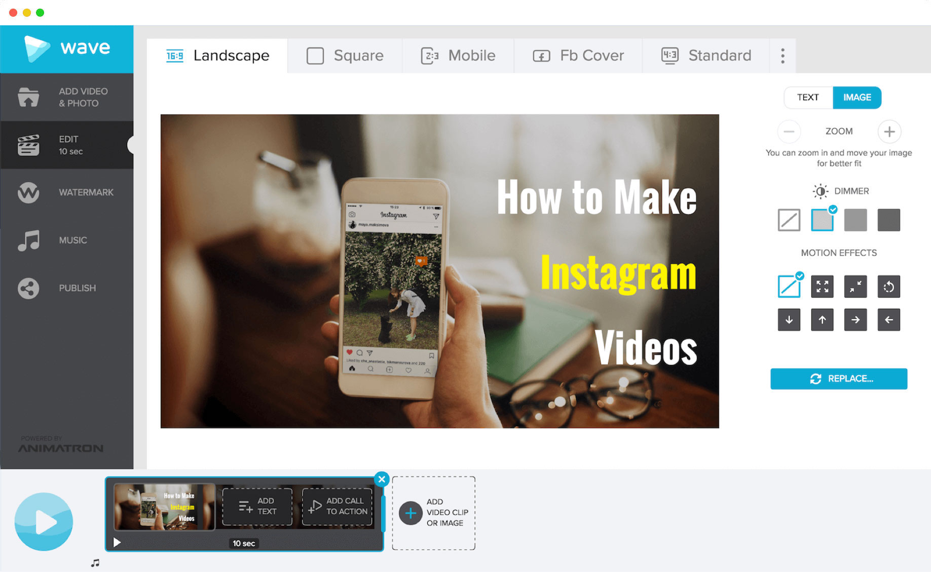 Learn how to make Instagram videos with Wave.video, a powerful video maker
