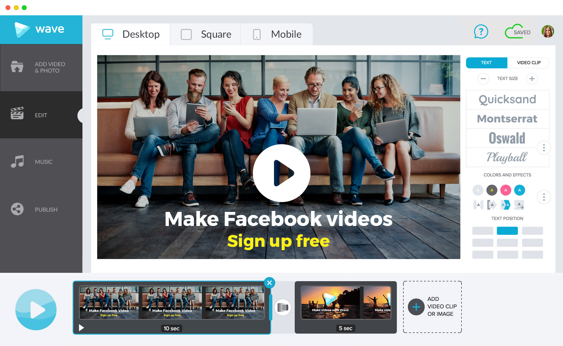 Make Facebook videos with Wave.video, an online video maker
