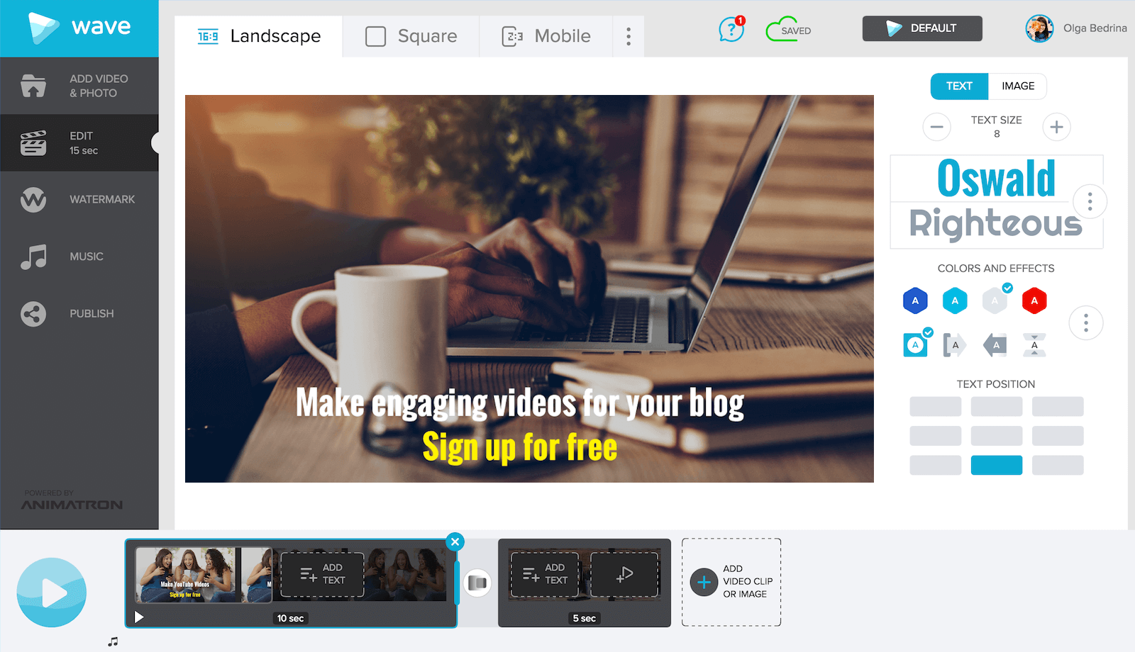 Make a video for your blog with Wave.video, an online video maker.