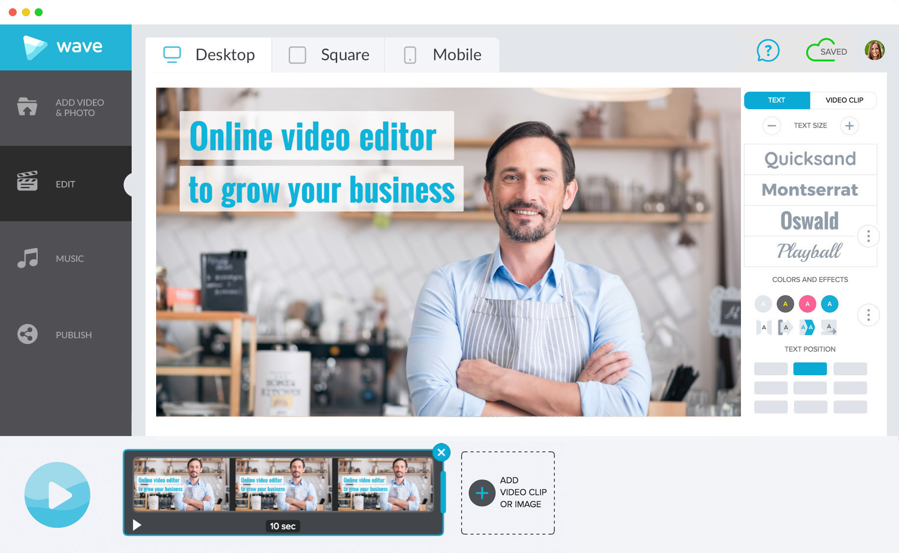 Wave.video is an online video editor for any business and purpose