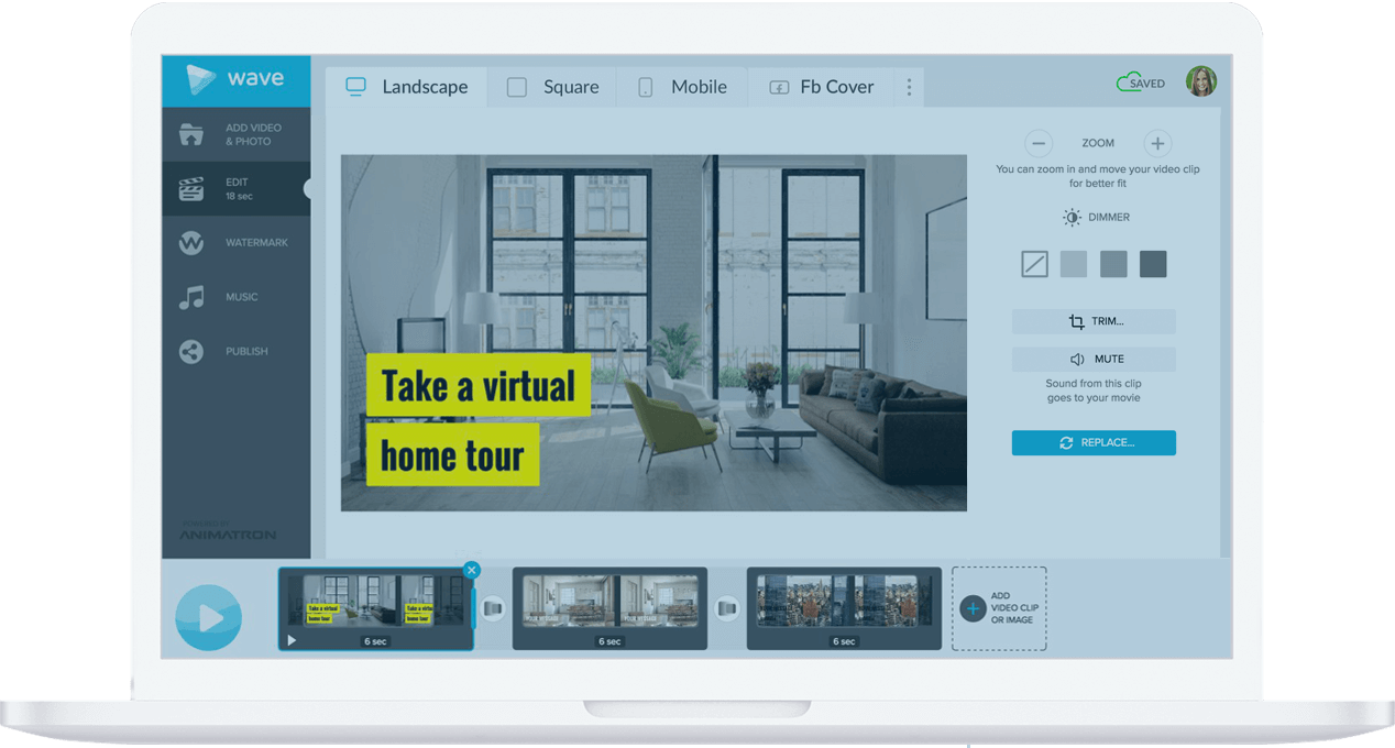 Real estate videos made easy with Wave.video, online video maker