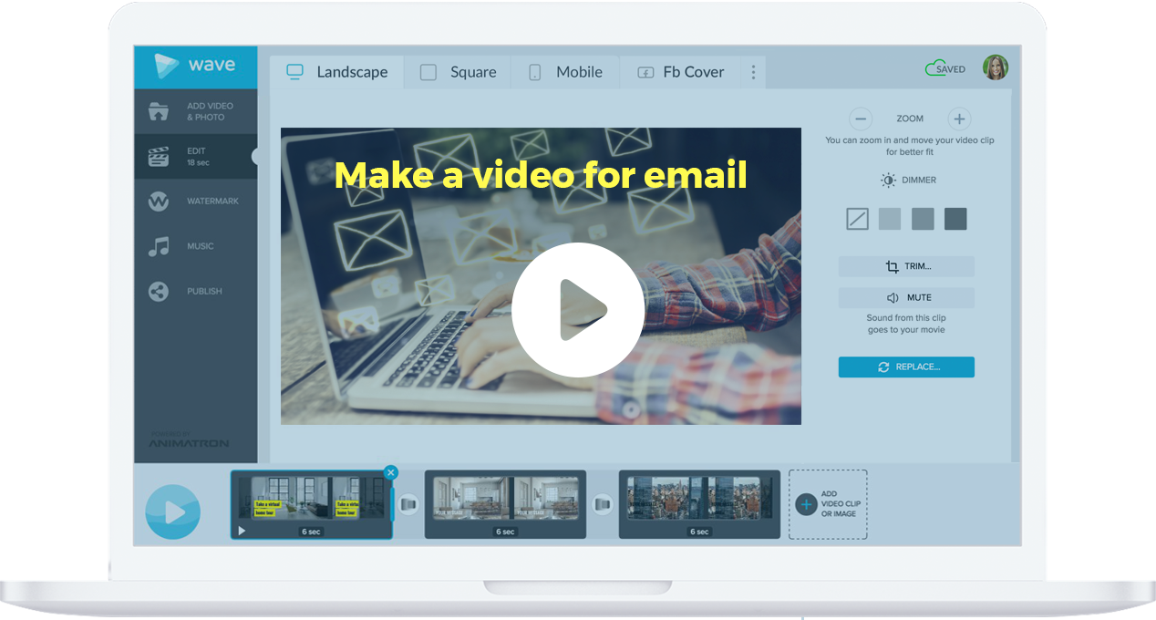 Make videos for emails with Wave.video, an online video maker