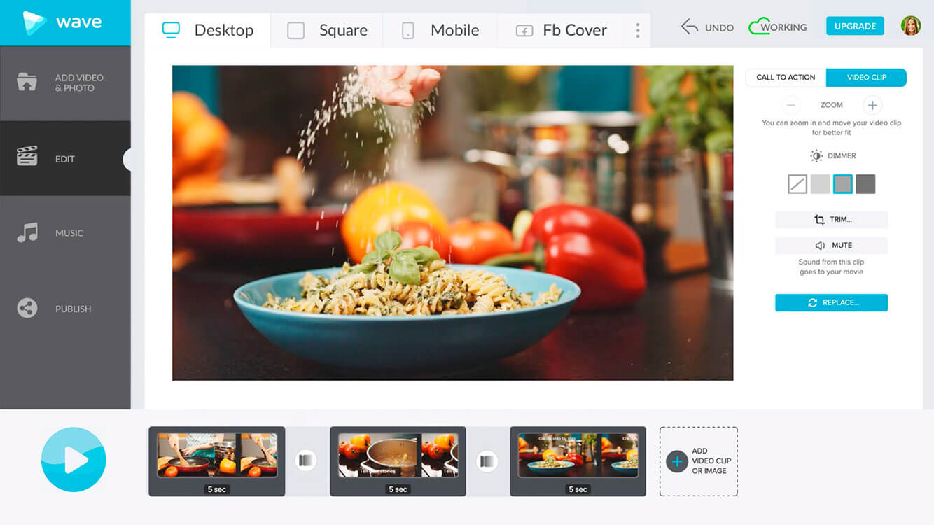 Combine several clips into one fantastic video with Wave.video