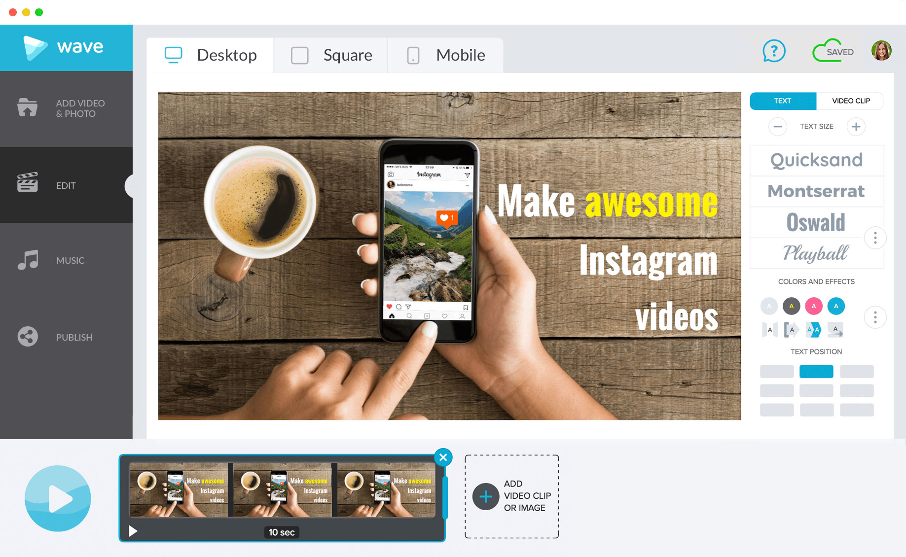 Make Instagram videos in Wave.video, a powerful online video editor