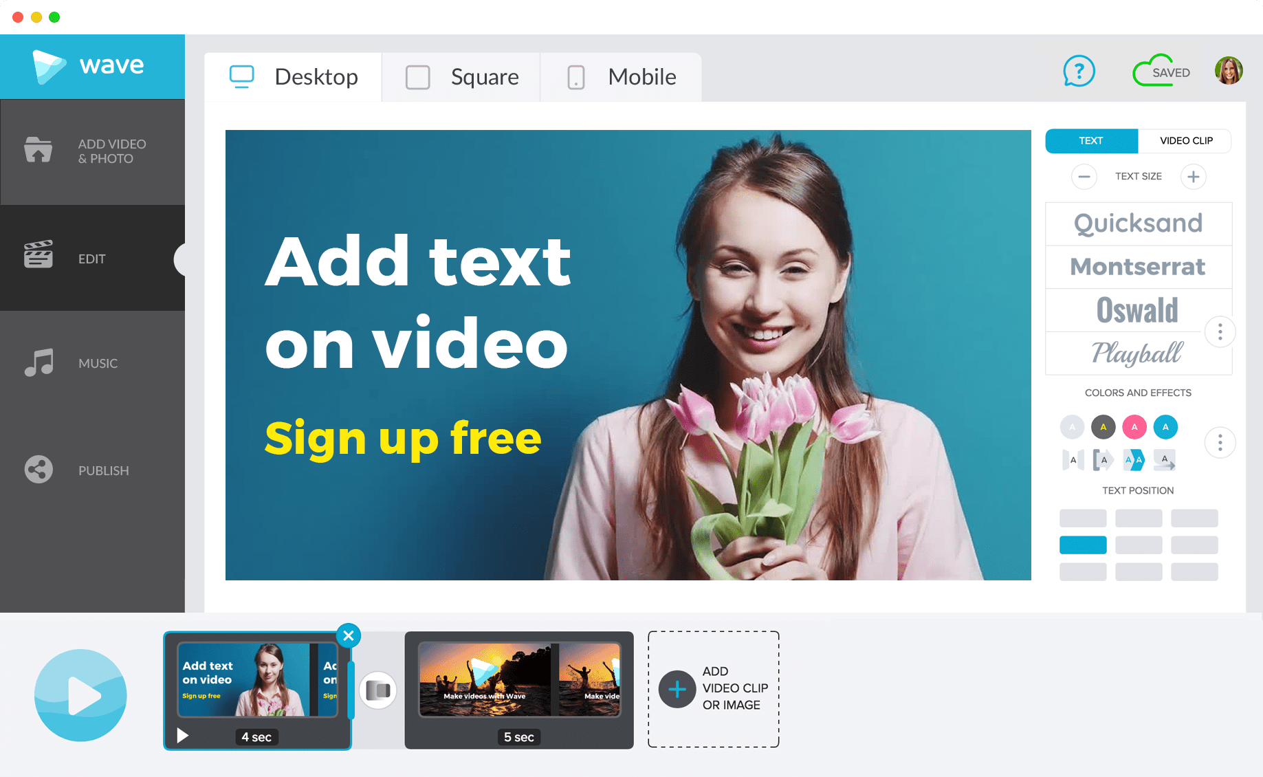 Wave.video is the best app to add text to video