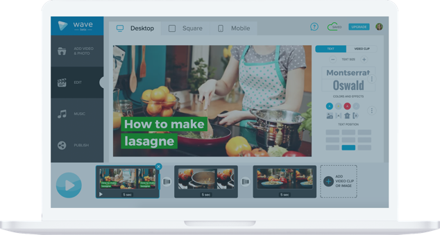 Mix and match your own videos with stock footage in Wave.video, a video maker