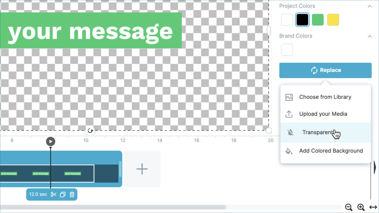 Step 1.<br/> Start a video project with a transparent background.