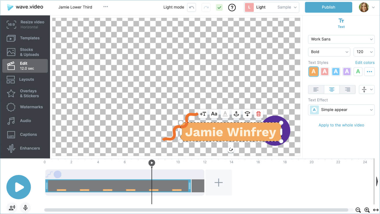 Step 2.<br/> Design your lower third overlay.